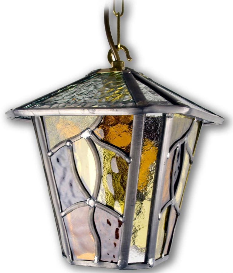 Coniston Amber Leaded Glass Downward Outdoor Wall Lantern Regarding Favorite Chicopee Beveled Glass Outdoor Wall Lanterns (View 7 of 15)