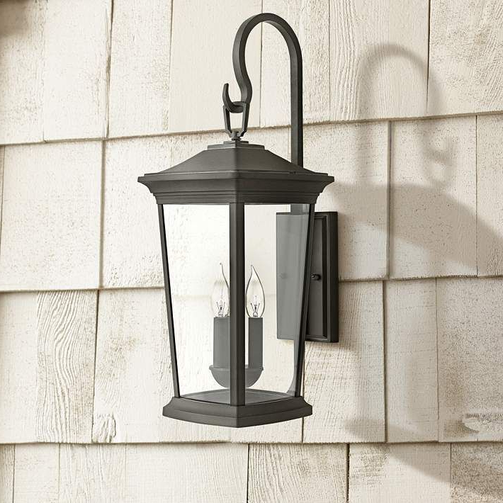 """Current Hinkley Bromley 24 3/4"""" High Museum Black Outdoor Wall Within Roden Black 3 Bulb Outdoor Wall Lanterns (View 12 of 15)"""