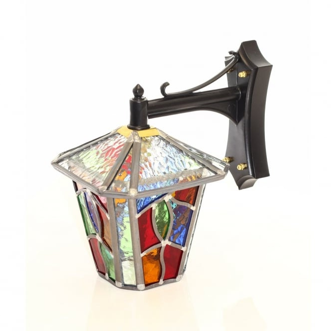 Decorative Multi Coloured Stain Glass Outdoor Wall Lantern Throughout Best And Newest Wrentham Beveled Glass Outdoor Wall Lanterns (View 8 of 15)