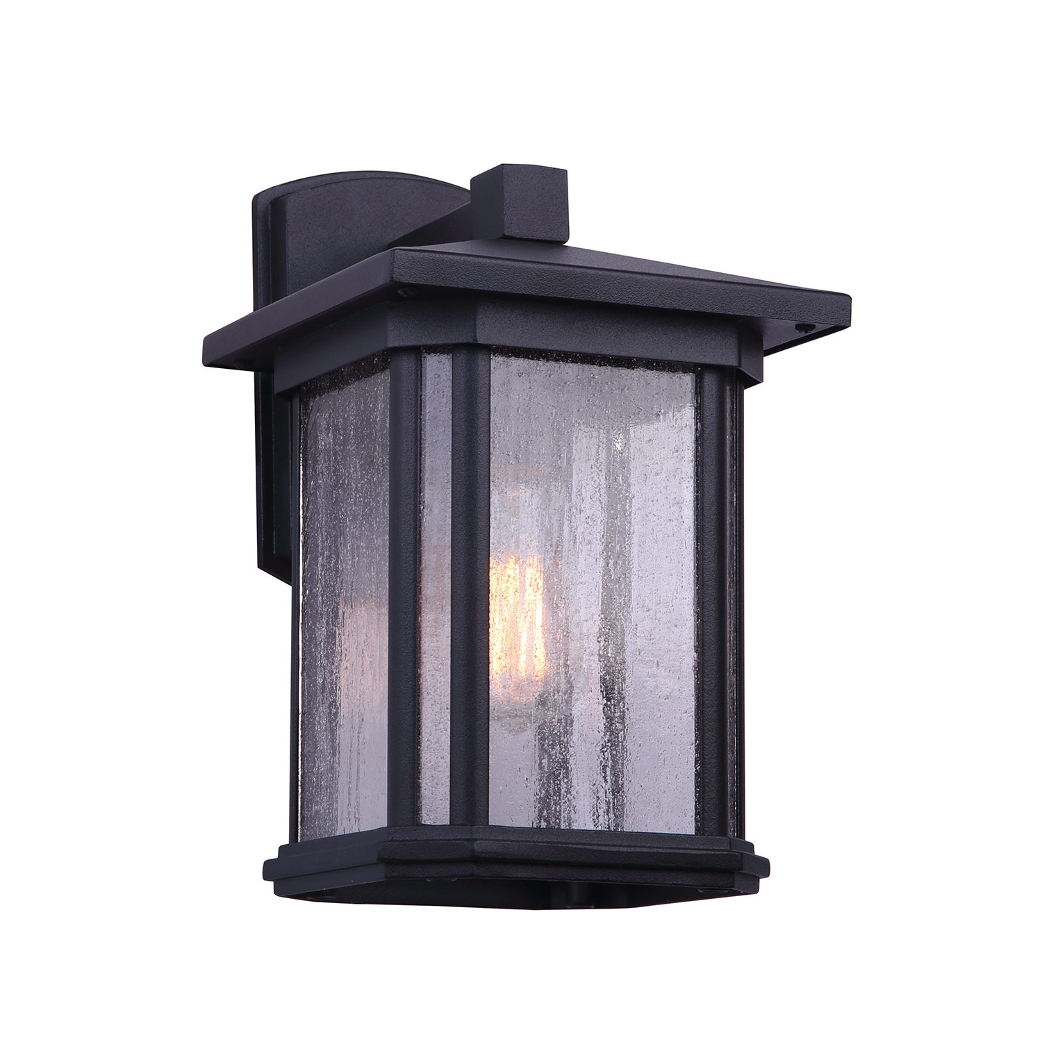 Emaje Black Seeded Glass Outdoor Wall Lanterns With Regard To Most Recently Released Bennington Clio 1 Bulb Black Outdoor Light Wall Lantern (View 4 of 15)