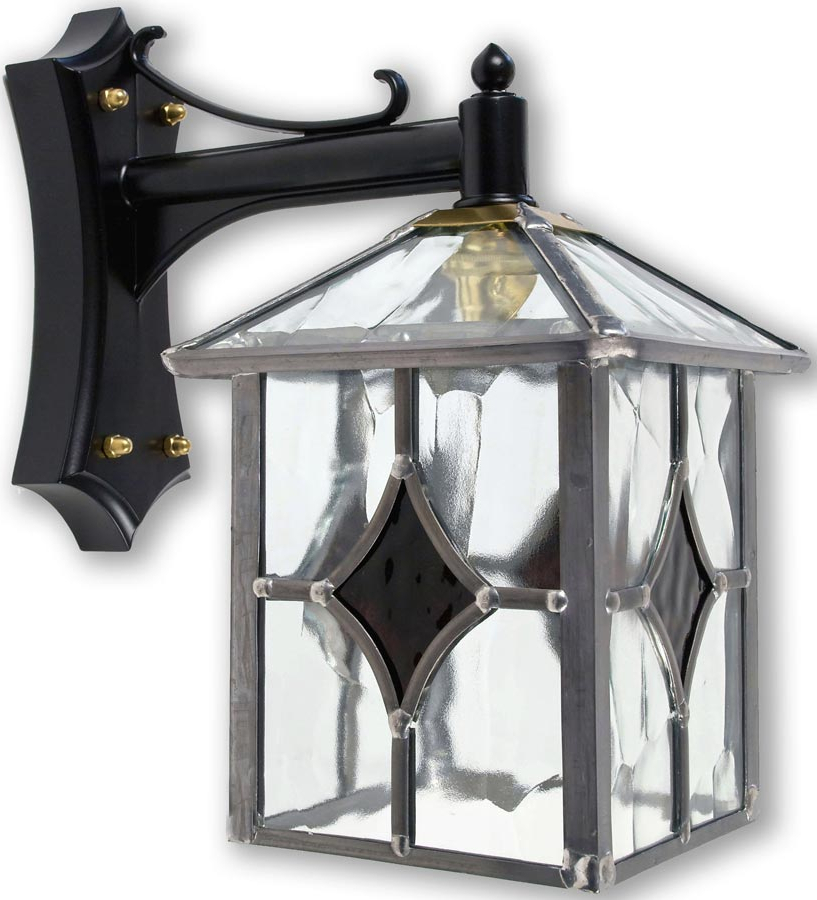 Famous Chicopee Beveled Glass Outdoor Wall Lanterns Throughout Yeovil Gothic Dark Amber Leaded Glass Traditional Outdoor (View 9 of 15)