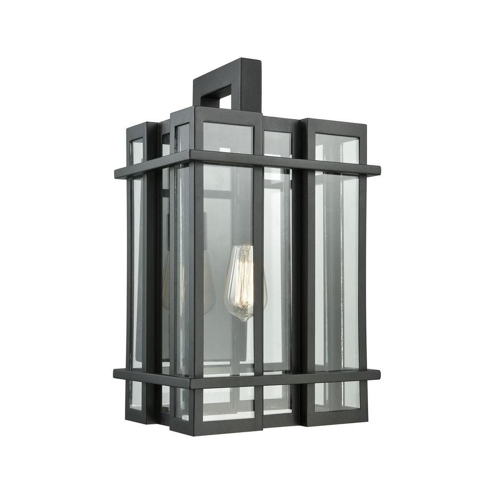 Famous Elk Lighting Glass Tower Matte Black Outdoor Wall Light With Mccay Matte Black Outdoor Wall Lanterns (View 12 of 15)
