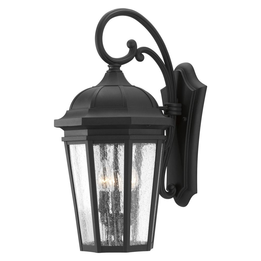 Featured Photo of Palma Black/clear Seeded Glass Outdoor Wall Lanterns