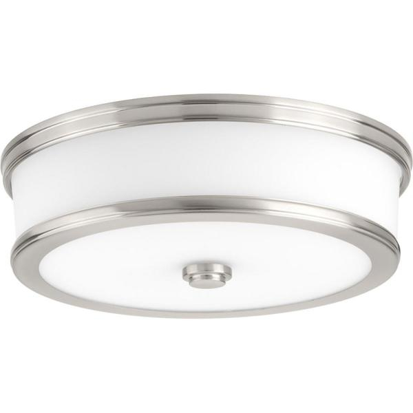 Famous Whisnant Black Integrated Led Frosted Glass Outdoor Flush Mount Throughout Progress Lighting Bezel Led 13 In (View 7 of 15)