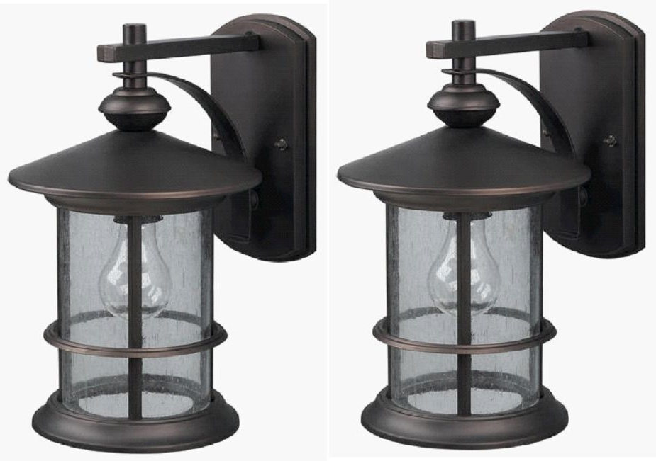 Fashionable 2 Pack Oil Rubbed Bronze Outdoor Wall Mount Lantern Lights Pertaining To Robertson 2 – Bulb Seeded Glass Outdoor Wall Lanterns (View 6 of 15)
