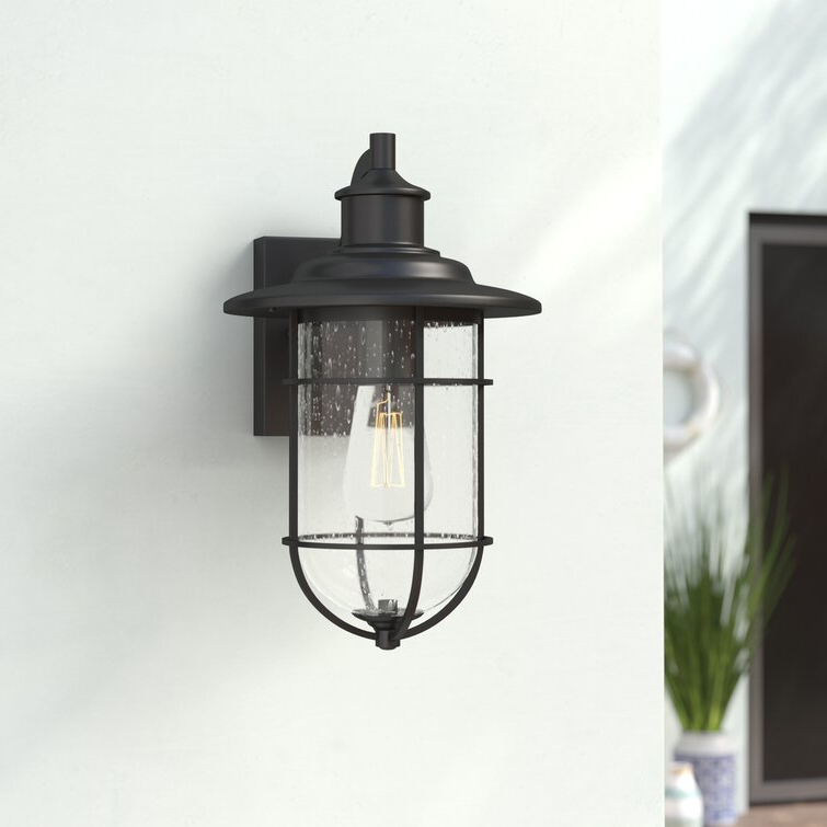 Fashionable Cherryville Black 13.58'' H Seeded Glass Outdoor Wall Lanterns Intended For Breakwater Bay Cherryville Black  (View 4 of 15)