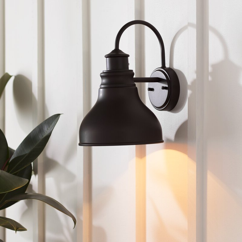 Fashionable Gunnora Outdoor Barn Lights With Dusk To Dawn With Regard To Ranbir Oil Burnished Bronze 1 – Bulb Outdoor Barn Light (View 11 of 15)