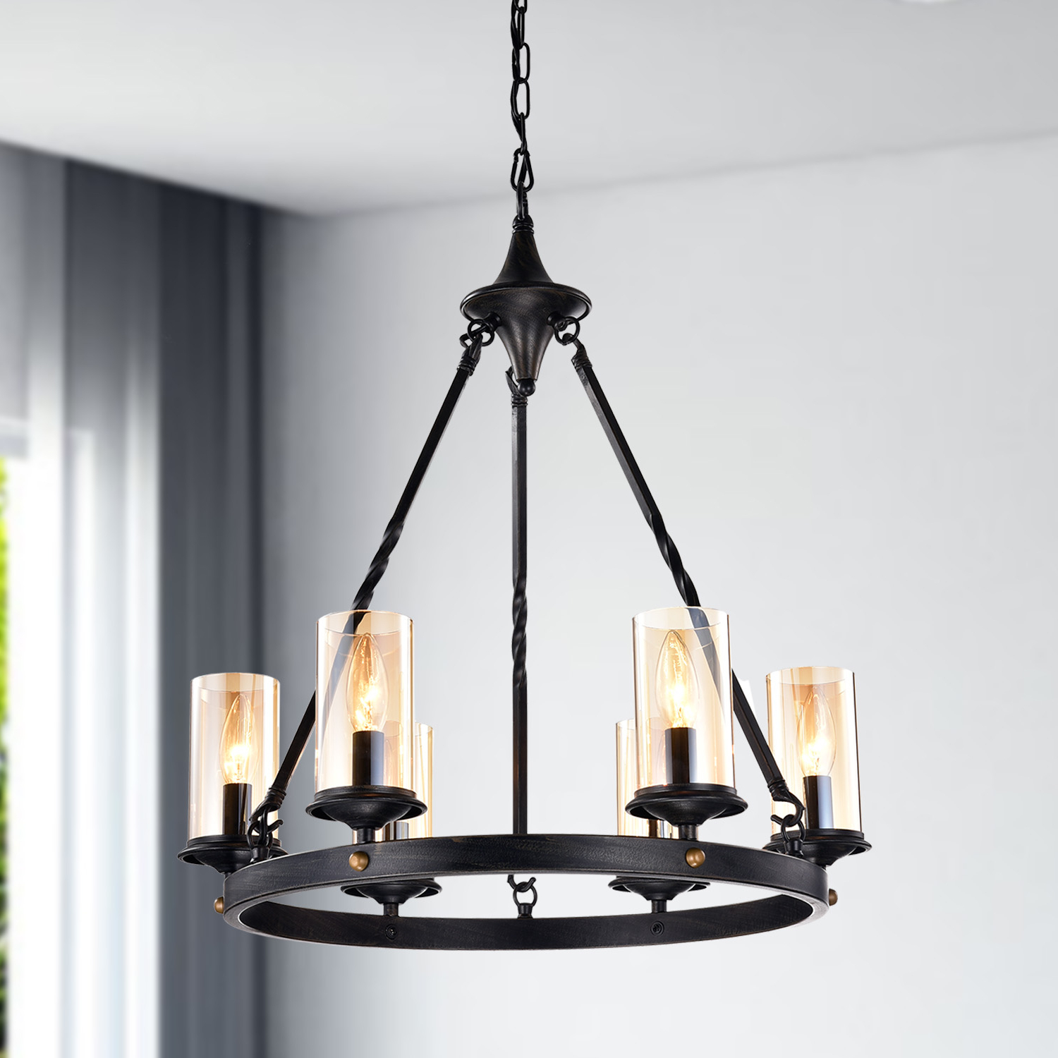 Fashionable Nayen Black 23'' H Wall Lanterns With 6 Light Antique Black Industrial Wheel Chandelier With (View 4 of 15)