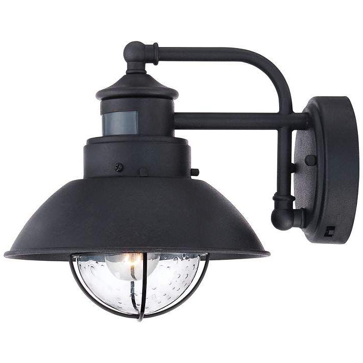 "Fashionable Oberlin 9""h Black Dusk To Dawn Motion Sensor Outdoor Light With Regard To Manteno Black Outdoor Wall Lanterns With Dusk To Dawn (View 12 of 15)"