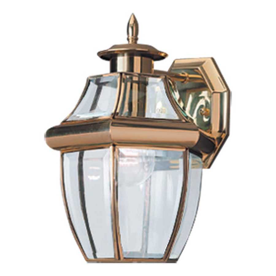 Faunce 12'' H Beveled Glass Outdoor Wall Lanterns For Newest Shop Sea Gull Lighting Lancaster 12 In H Polished Brass (View 10 of 15)