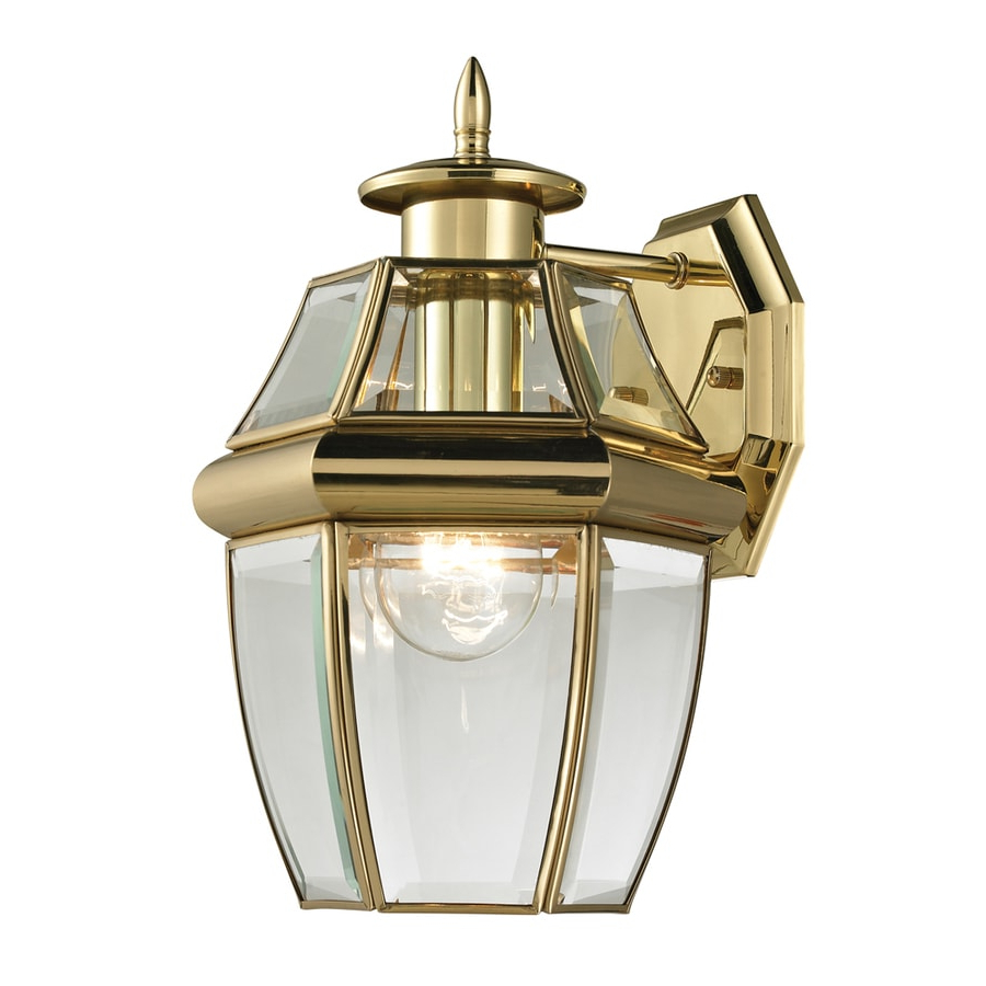 Faunce 12'' H Beveled Glass Outdoor Wall Lanterns In Newest Shop Westmore Lighting Keswick 12 In H Antique Brass (View 7 of 15)