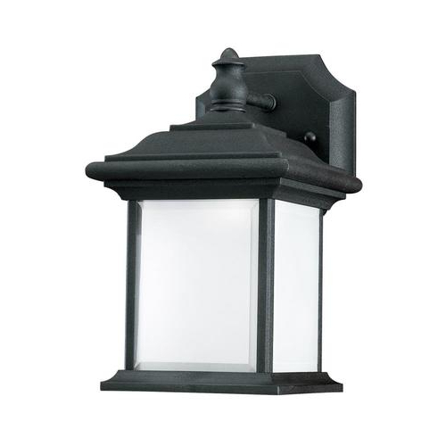 Faunce 12'' H Beveled Glass Outdoor Wall Lanterns Within Famous Sea Gull Lighting Wynfield  (View 13 of 15)