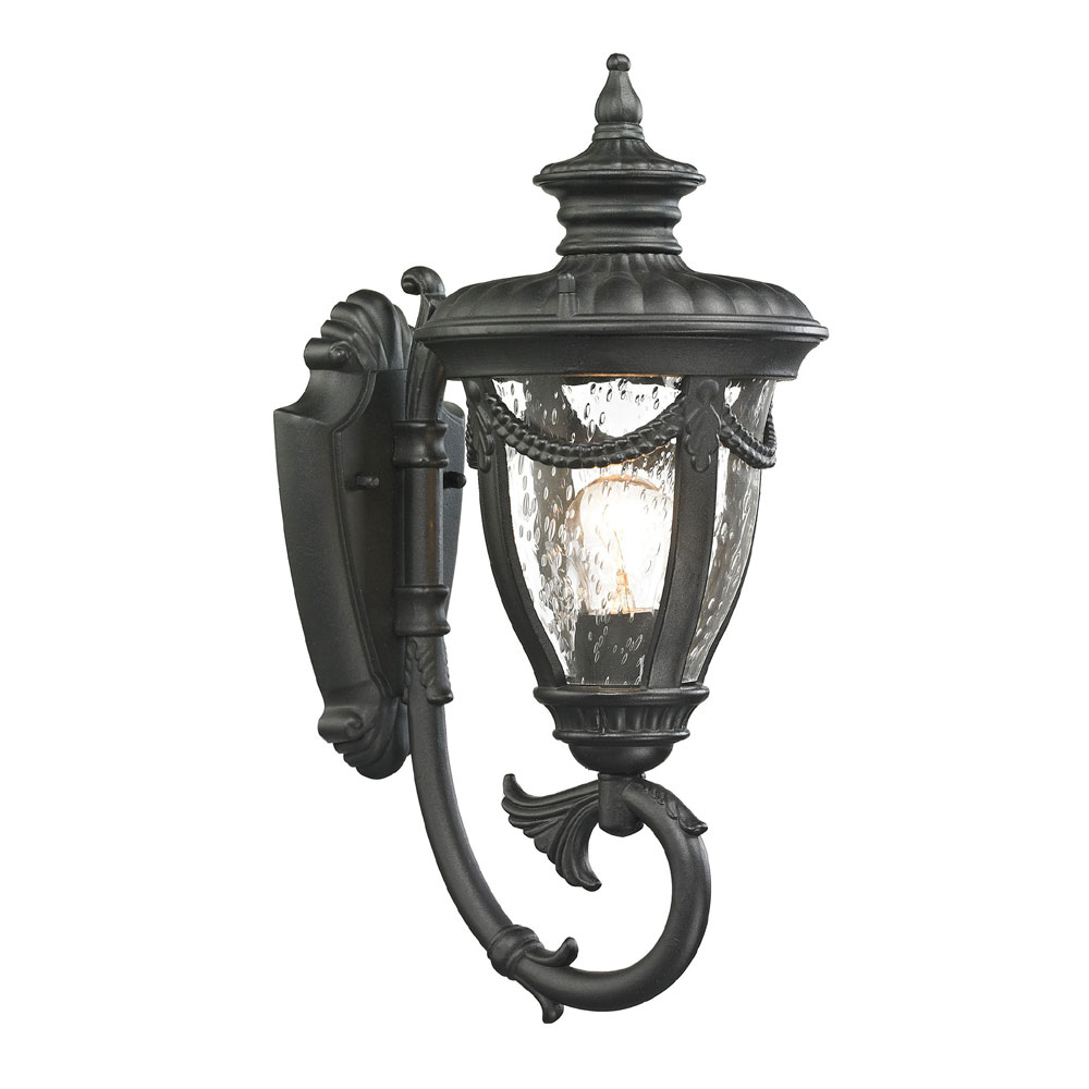 Favorite Elk 45075 1 Anise Traditional Textured Matte Black Outdoor Pertaining To Mccay Matte Black Outdoor Wall Lanterns (View 4 of 15)