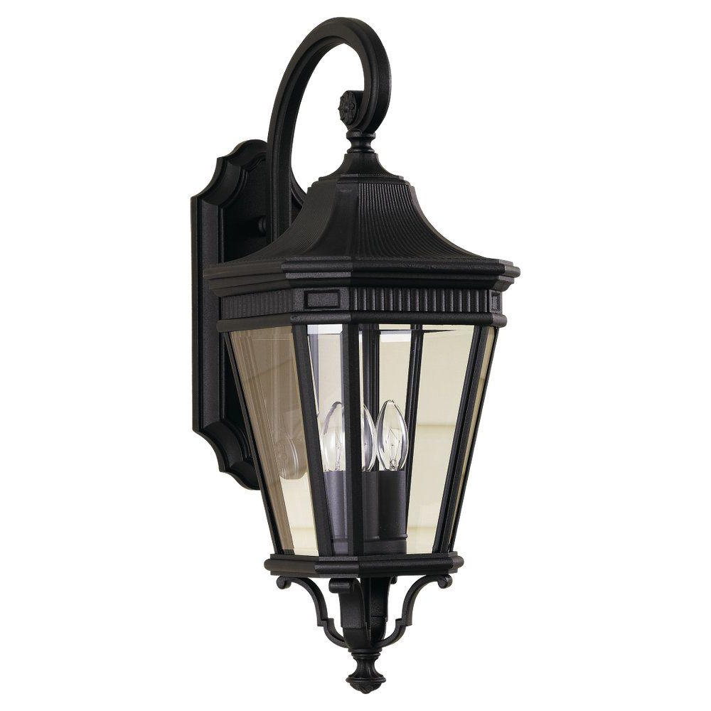 Feiss Cotswold Lane 3 Light Black Outdoor Wall Lantern In Current Armanno Matte Black Wall Lanterns (View 12 of 15)