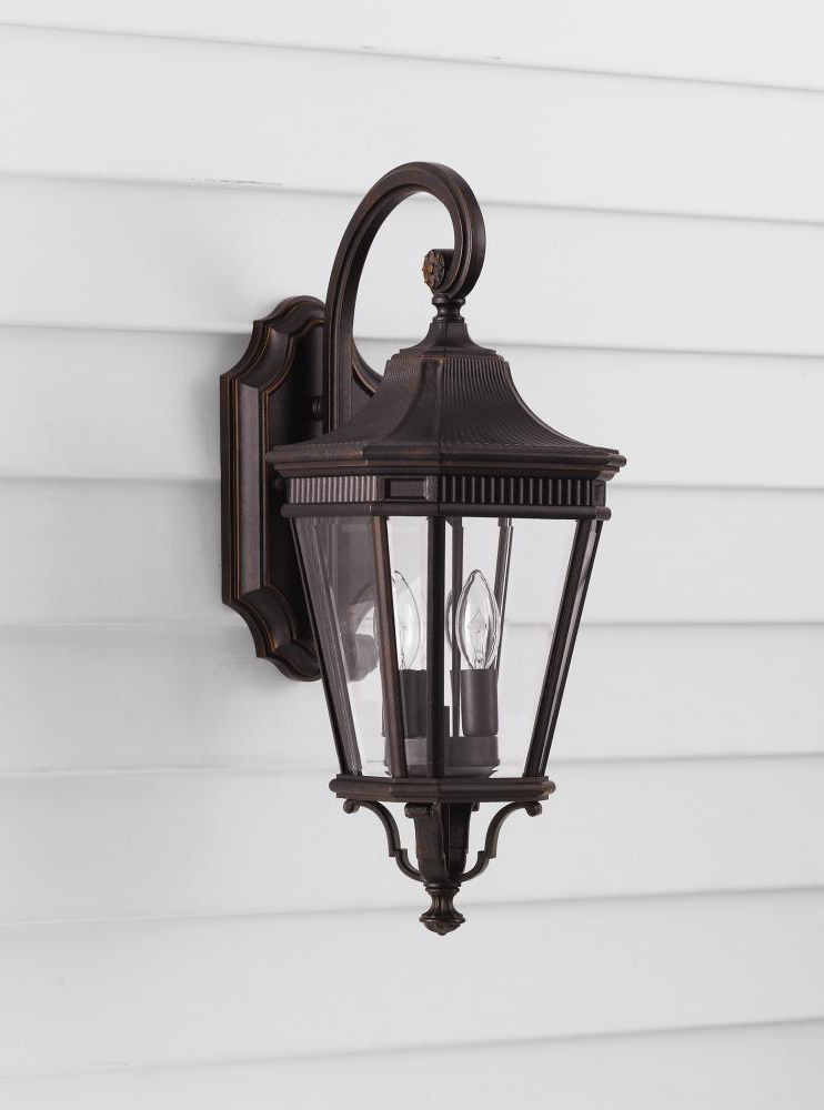 Feiss Two Light Grecian Bronze Clear Beveled Glass Wall For 2019 Tangier Dark Bronze Wall Lanterns (View 8 of 15)