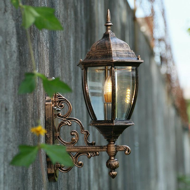 Garneau Black Wall Lanterns In Preferred Retro Waterproof Outdoor Lantern Coach Light Black/brass (View 5 of 15)