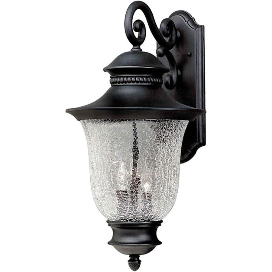 Garneau Black Wall Lanterns In Well Known Shop 23 In H Black Outdoor Wall Light At Lowes (View 14 of 15)