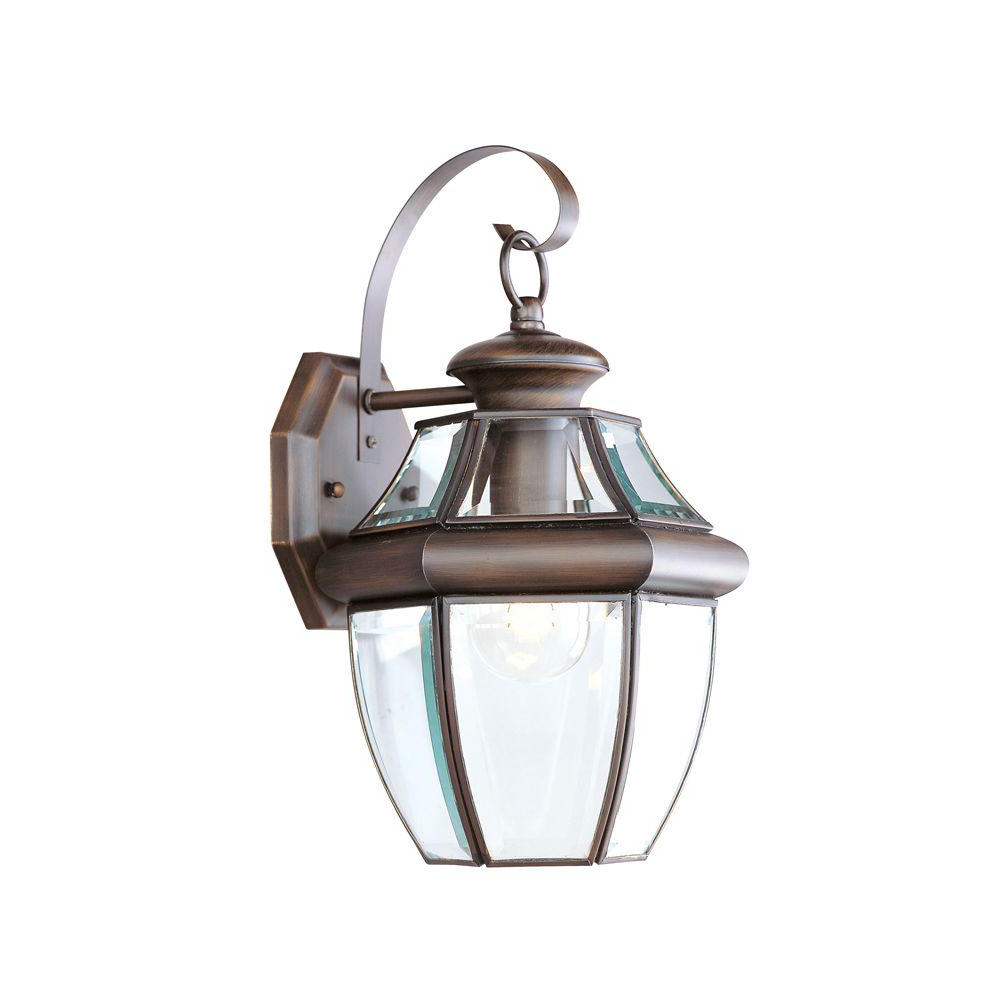 Gillian Beveled Glass Outdoor Wall Lanterns Within Well Known Livex Lighting 1 Light Bronze Outdoor Wall Lantern With (View 10 of 15)