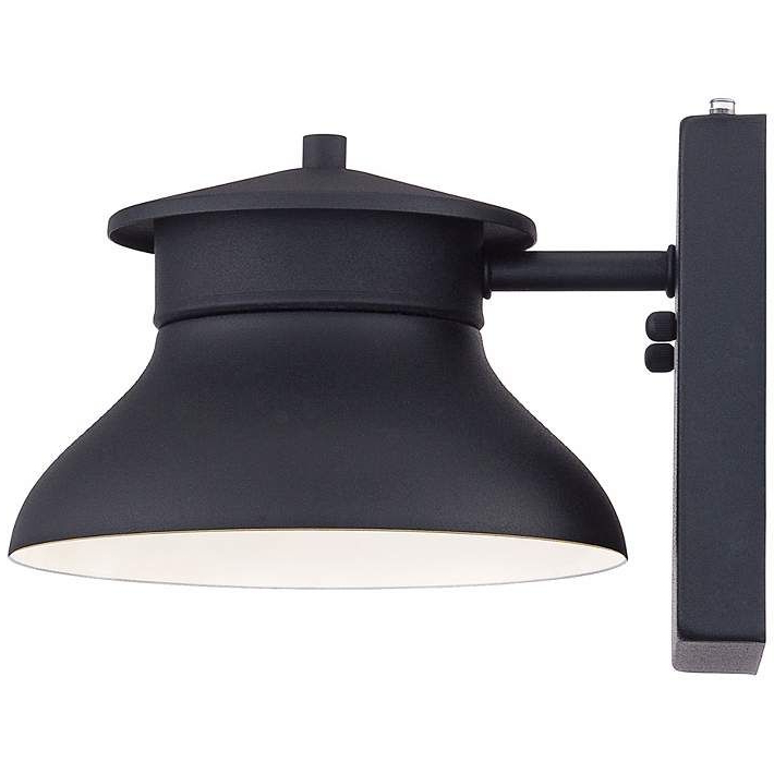 """Gunnora Outdoor Barn Lights With Dusk To Dawn With Regard To Favorite Danbury 6"""" High Black Dusk To Dawn Led Outdoor Wall Light (View 3 of 15)"""