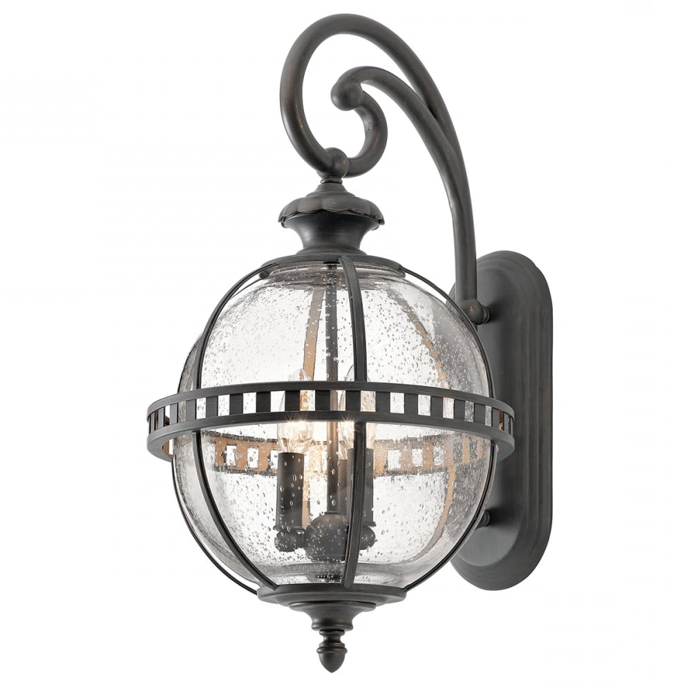 Halleron Medium Wall Lantern Seeded Glass Globe Matte For Fashionable Palma Black/clear Seeded Glass Outdoor Wall Lanterns (View 4 of 15)