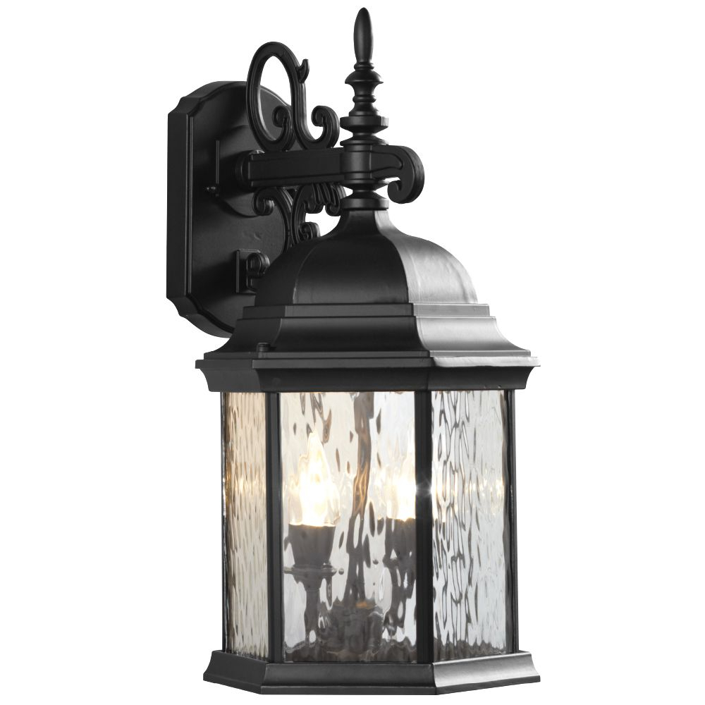 Hampton Bay 2 Light Exterior Led Wall Lantern Black Matte For Trendy Robertson 2 – Bulb Seeded Glass Outdoor Wall Lanterns (View 7 of 15)