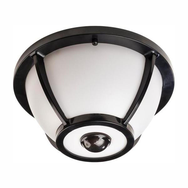 Hampton Bay 360 Degree Matte Black Round Integrated Led Inside Current Whisnant Black Integrated Led Frosted Glass Outdoor Flush Mount (View 13 of 15)