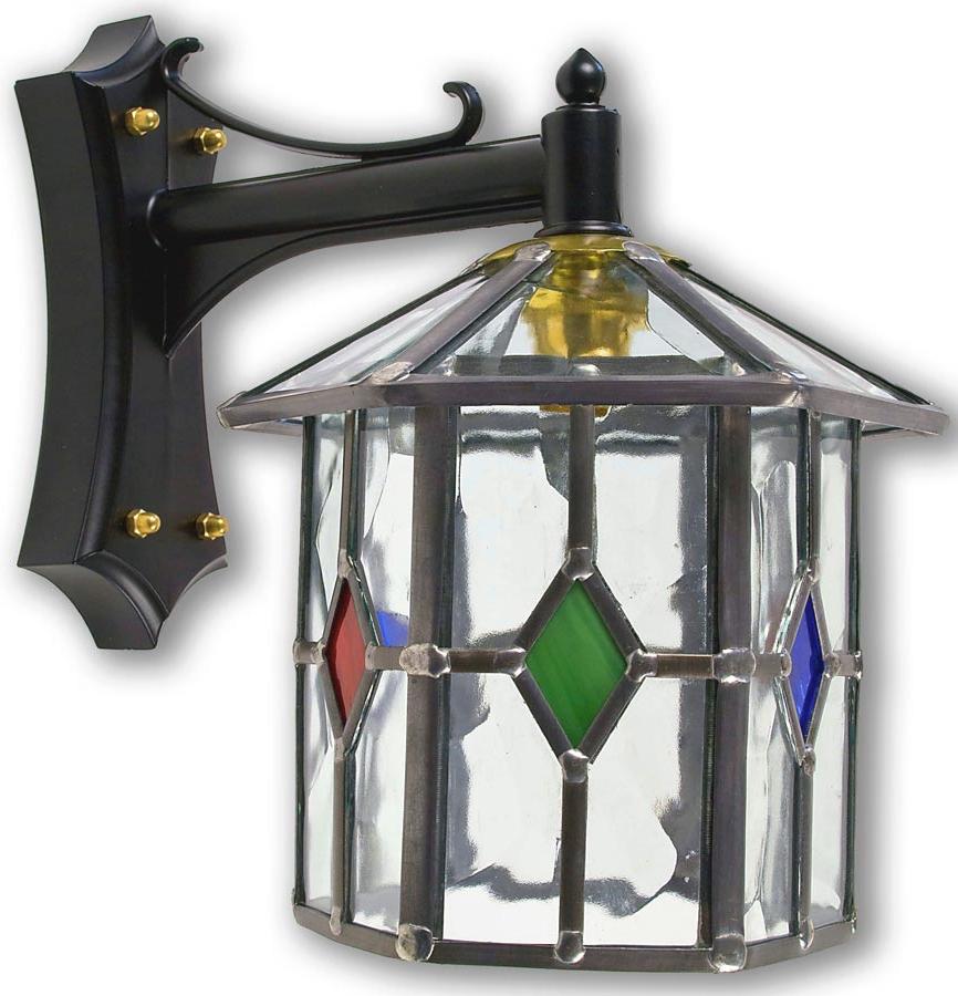 Handmade Hexagonal Multi Coloured Leaded Glass Outdoor Inside Preferred Gillian Beveled Glass Outdoor Wall Lanterns (View 8 of 15)