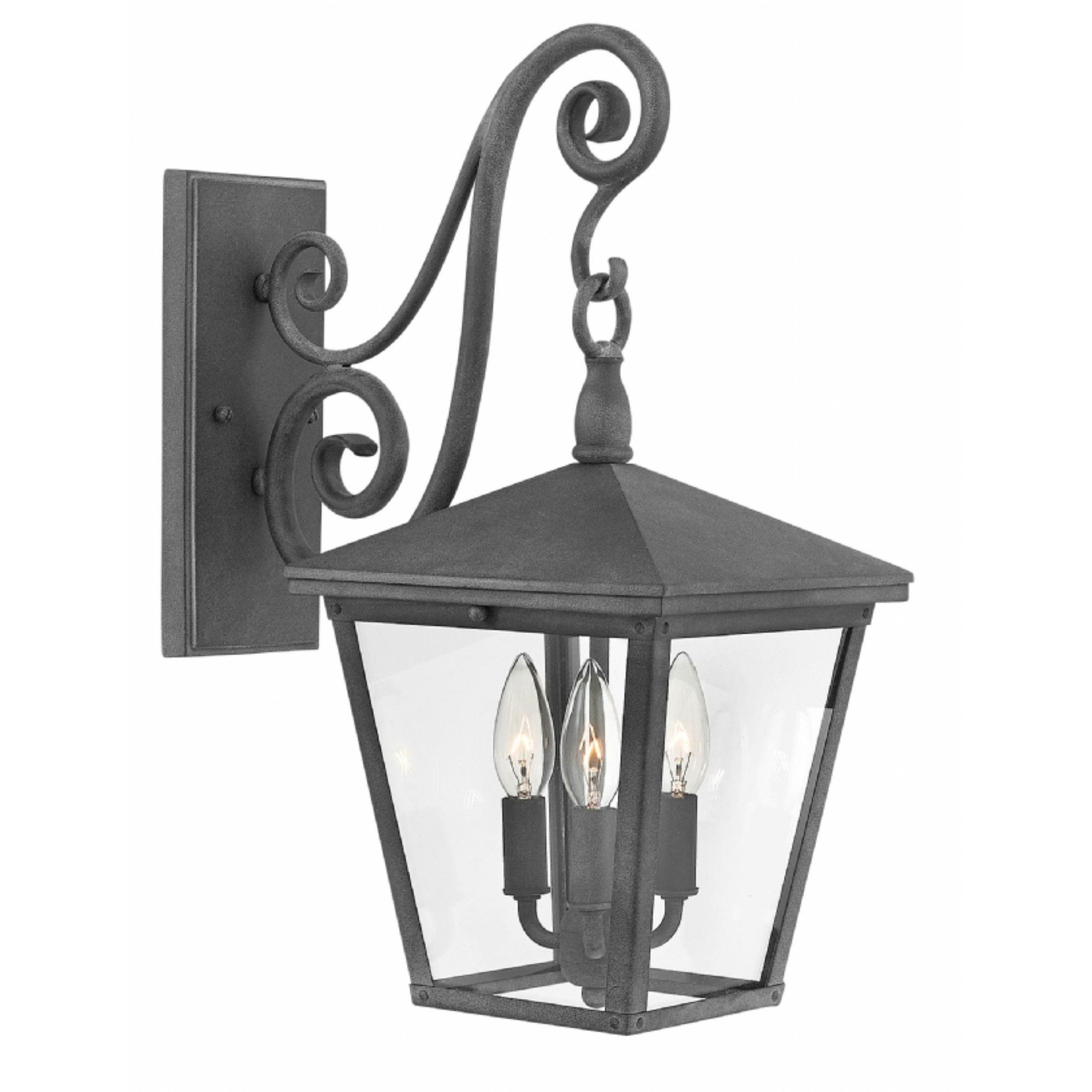 Hinkley Trellis 3 Light Outdoor Wall Mount In Aged Zinc Within Favorite Roden Black 3 Bulb Outdoor Wall Lanterns (View 11 of 15)