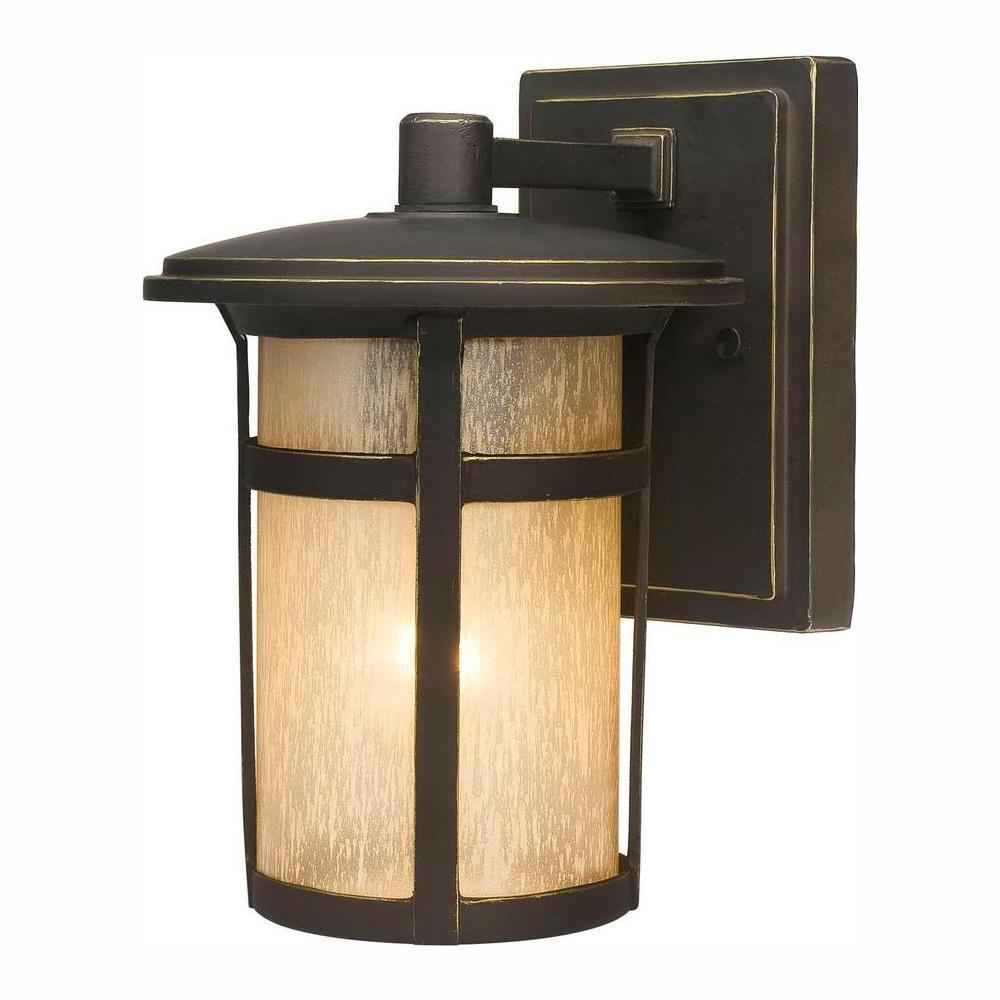 Home Decorators Collection Round Craftsman 1 Light Dark Within Fashionable Tangier Dark Bronze Wall Lanterns (View 2 of 15)