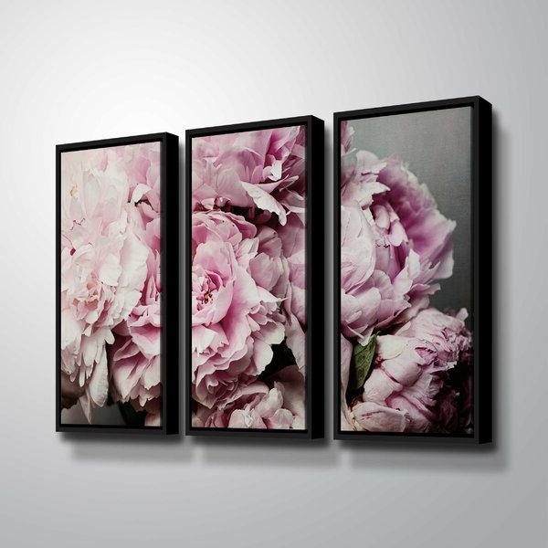 House Of Hampton® Peonies Galore Ii – 3 Pieceprint Set On Within 2019 Vendramin Black  (View 10 of 15)