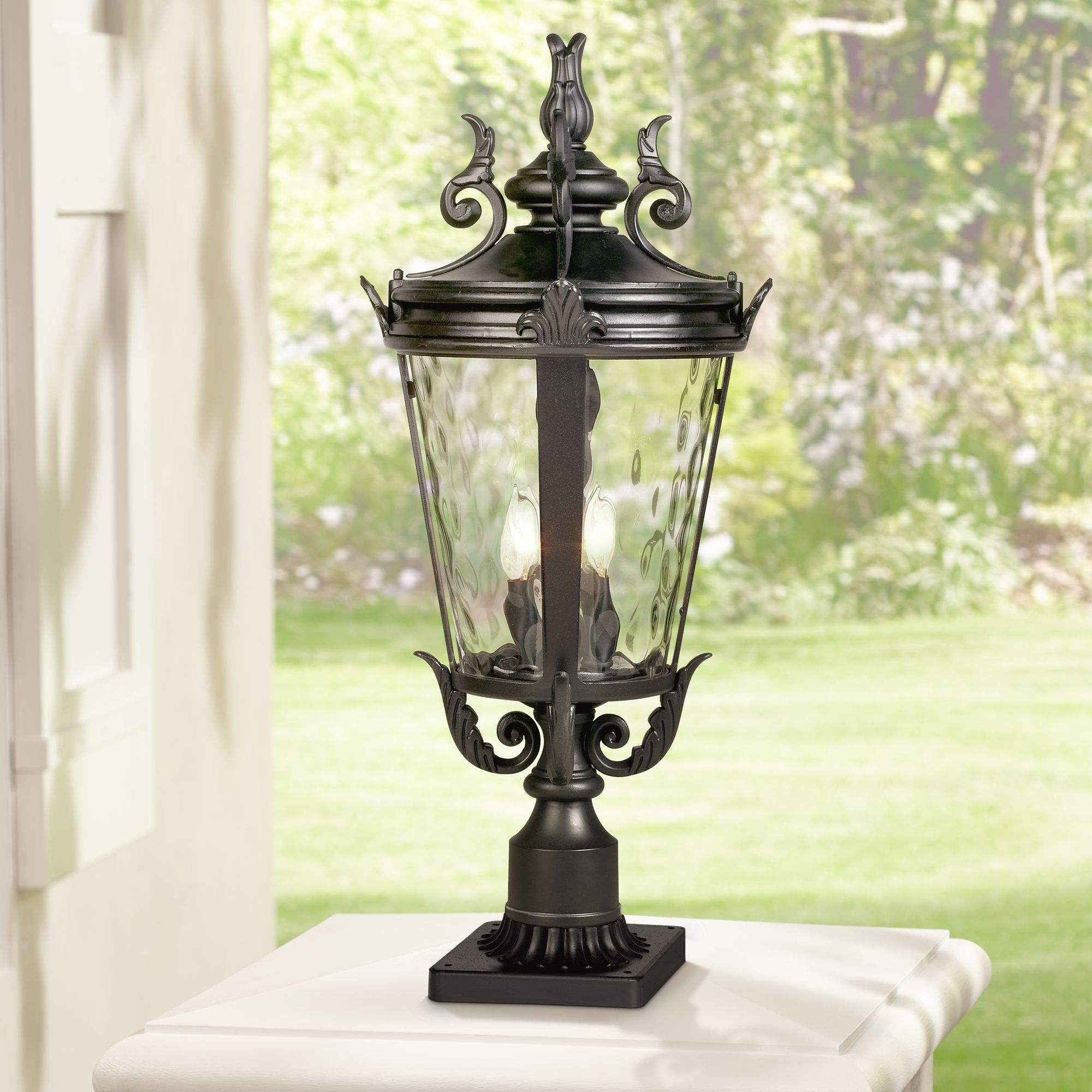 John Timberland Traditional Outdoor Post Light With Pier With Fashionable Sheard Textured Black 2 – Bulb Wall Lanterns (View 10 of 15)