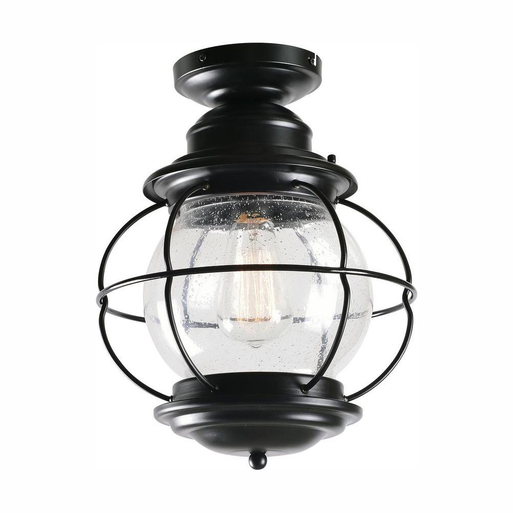 Keiki Matte Black 11'' H Outdoor Wall Lanterns Intended For Well Known Home Decorators Collection Greer 1 Light Black Outdoor (View 11 of 15)