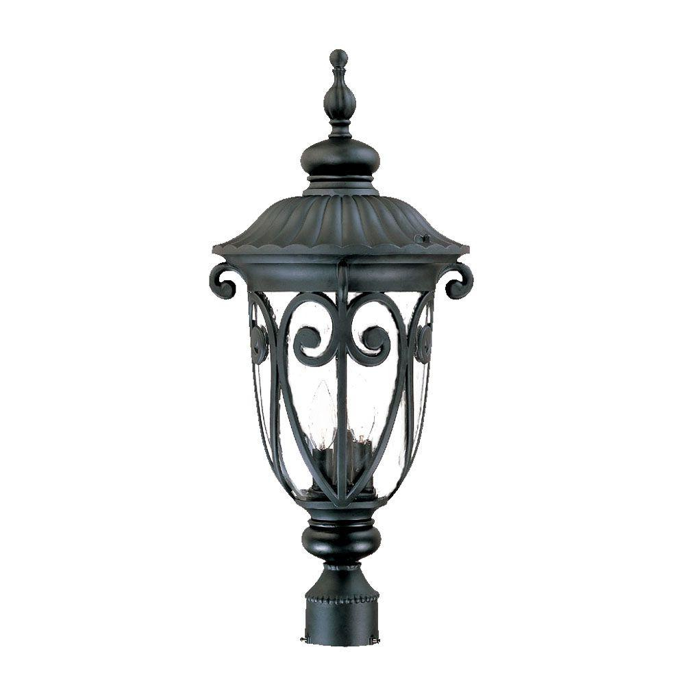 Keiki Matte Black 11'' H Outdoor Wall Lanterns With Most Recently Released Acclaim Lighting Naples 3 Light Matte Black Outdoor Post (View 6 of 15)