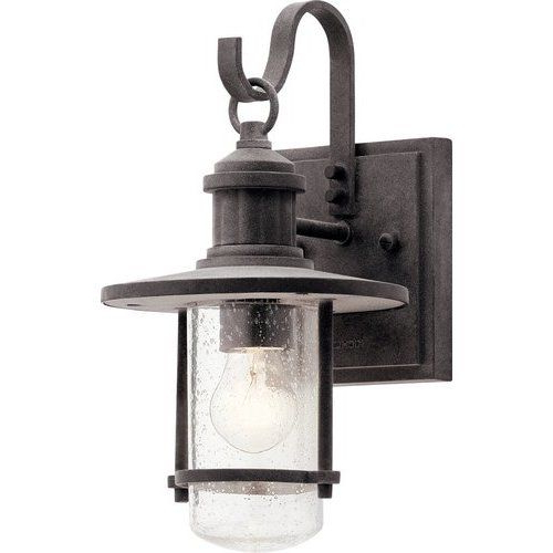 Kichler 12 1/2 Inch 1 Bulb Riverwood Incandescent Outdoor Intended For 2019 Chicopee 2 – Bulb Glass Outdoor Wall Lanterns (View 14 of 15)
