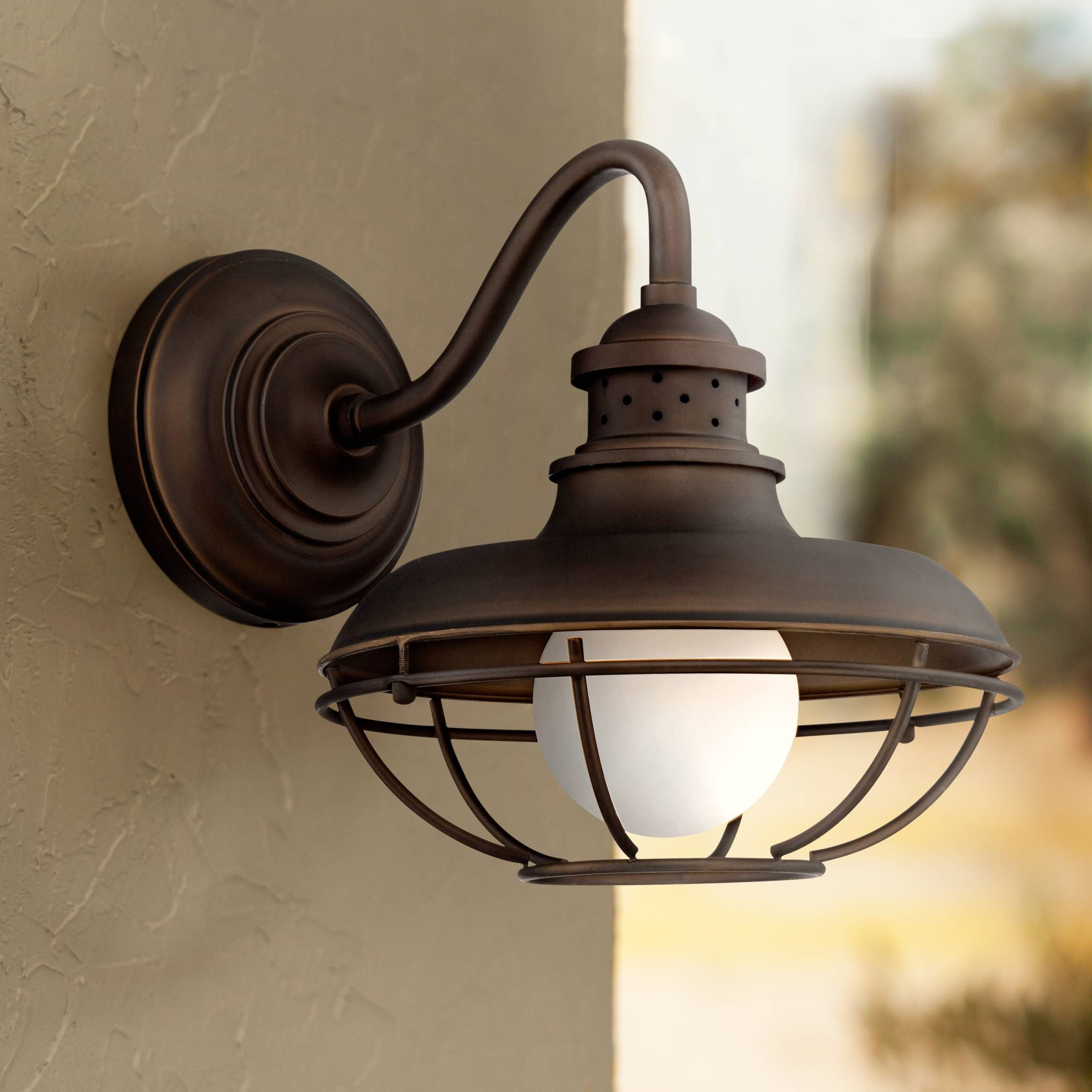 """Lainey 13'' H Outdoor Barn Lights With Famous Franklin Park 13"""" High Bronze Metal Cage Outdoor Wall (View 4 of 15)"""