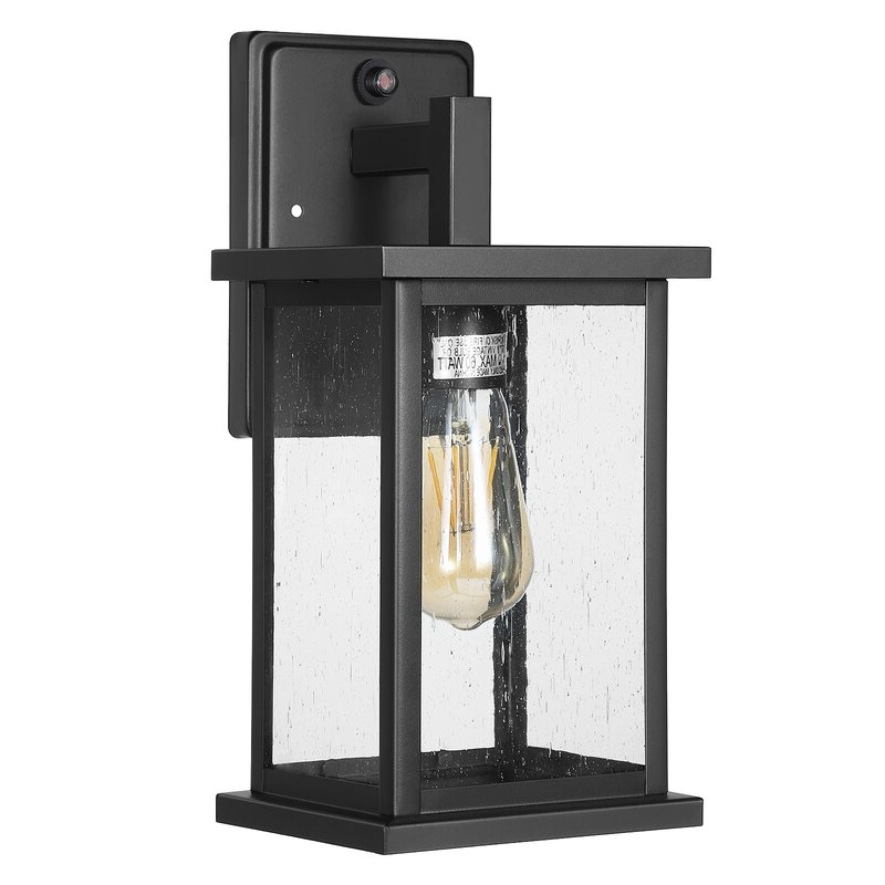 Featured Photo of Brook Black 9.5'' H Seeded Glass Outdoor Wall Lanterns with Dusk to Dawn