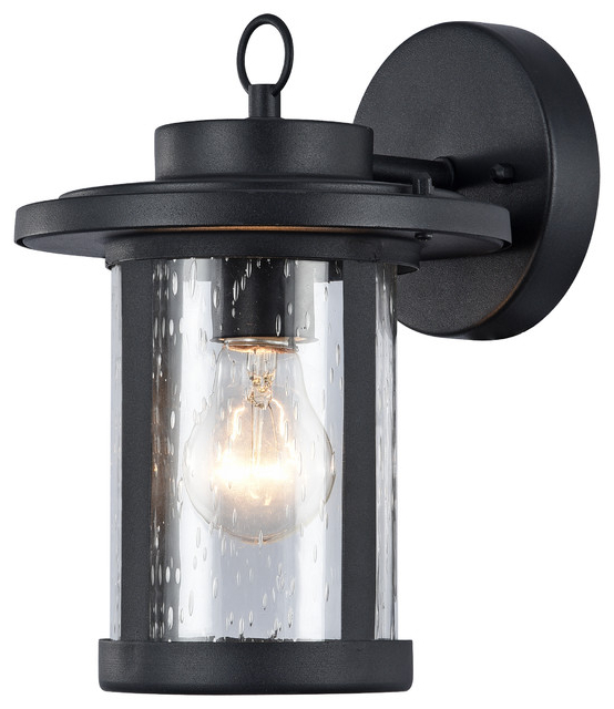 Latest Clarence Black 10'' H Outdoor Wall Lanterns With Vaxcel, Transitional 1 Light Black Outdoor Wall Sconce,  (View 12 of 15)