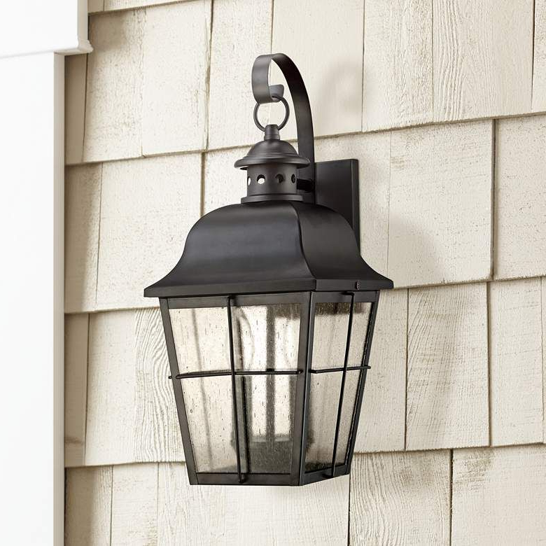 """Latest Quoizel Millhouse 18"""" High Black Outdoor Wall Light Intended For Roden Black 3 Bulb Outdoor Wall Lanterns (View 15 of 15)"""