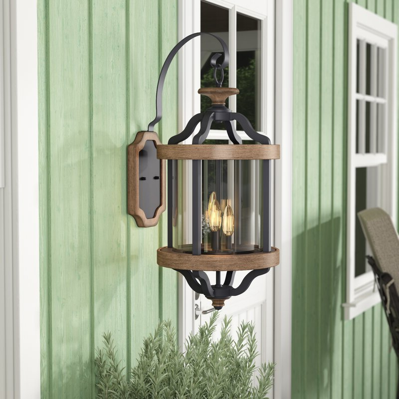 Laurel Foundry Modern Farmhouse Elisabetta 3 Light Outdoor With Well Liked Caroline Outdoor Wall Lanterns (View 9 of 15)
