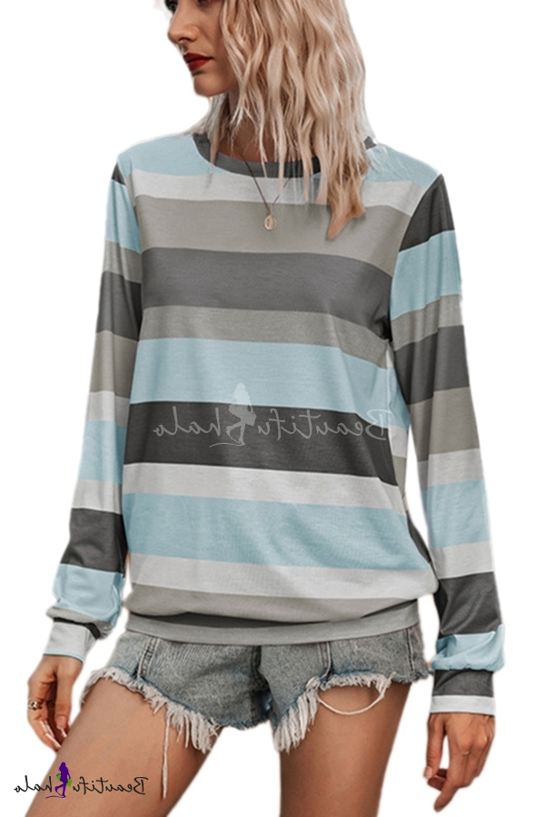 Leisure Stripe Printed Long Sleeve Crew Neck Relaxed Fit T Throughout Well Liked Edinburg Black  (View 7 of 15)