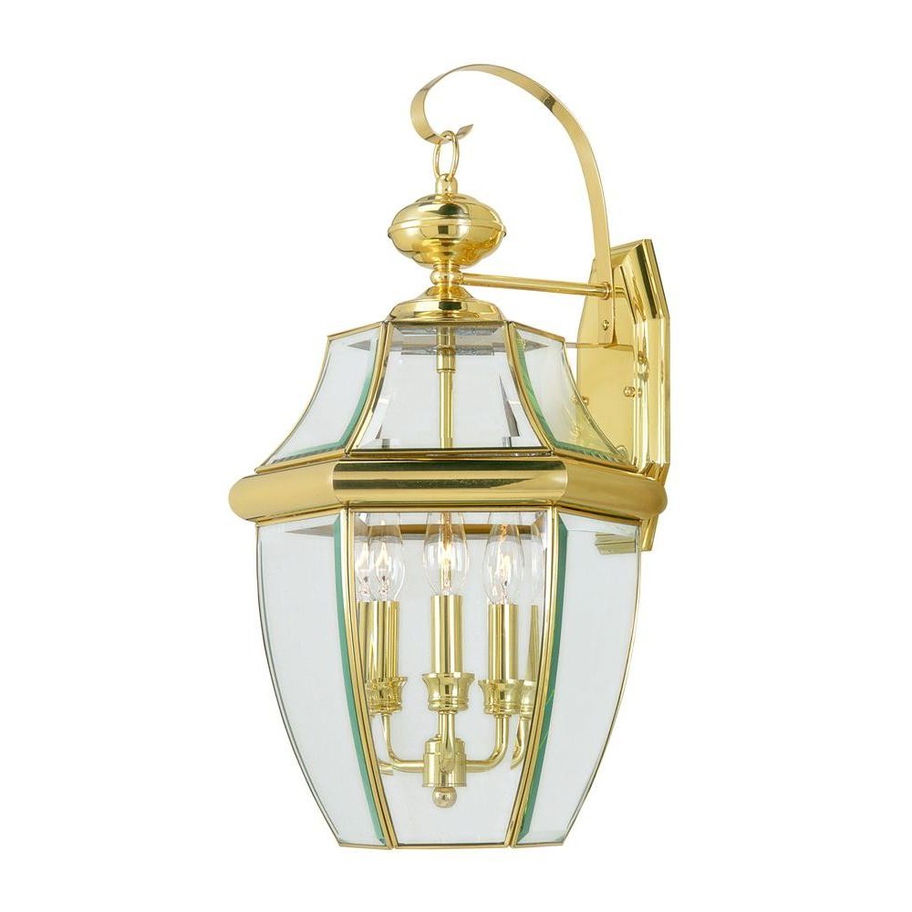 Livex Lighting 3 Light Bright Brass Outdoor Wall Lantern With Regard To Recent Carrington Beveled Glass Outdoor Wall Lanterns (View 9 of 15)