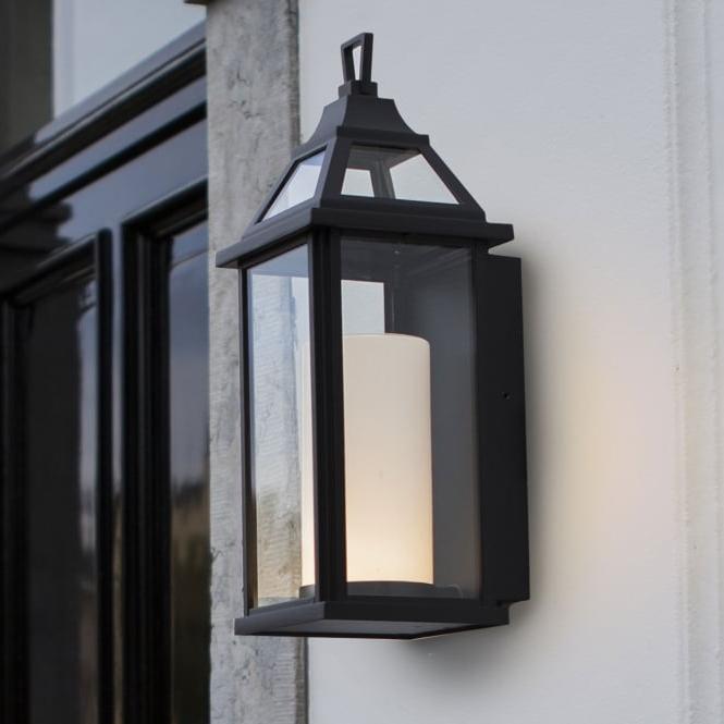 Lutec Hom 16w Coach Lantern Exterior Led Wall Light In Black Inside Famous Garneau Black Wall Lanterns (View 3 of 15)
