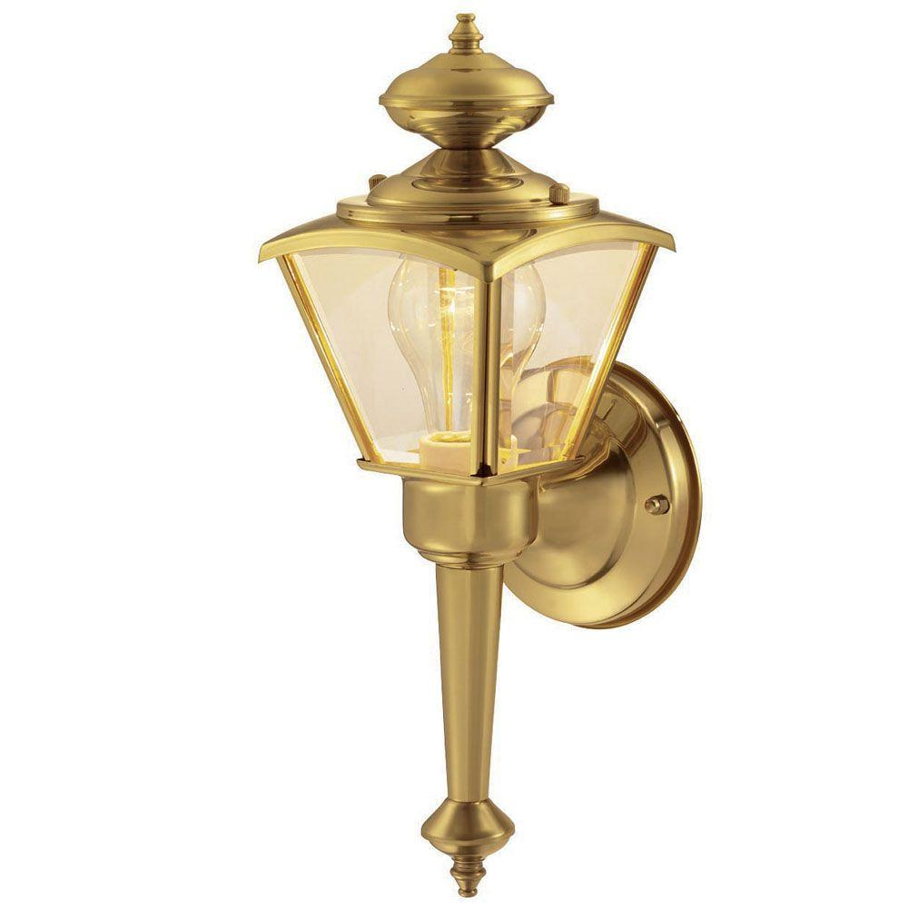 Malak Outdoor Wall Lanterns Intended For Fashionable Hampton Bay 1 Light Polished Brass Outdoor Wall Lantern (View 14 of 15)