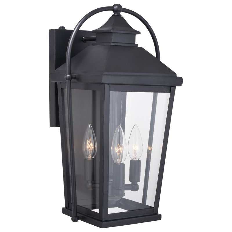 Manteno Black Outdoor Wall Lanterns With Dusk To Dawn Throughout Best And Newest August Grove® Crediton Textured Black Outdoor Wall Lantern (View 9 of 15)