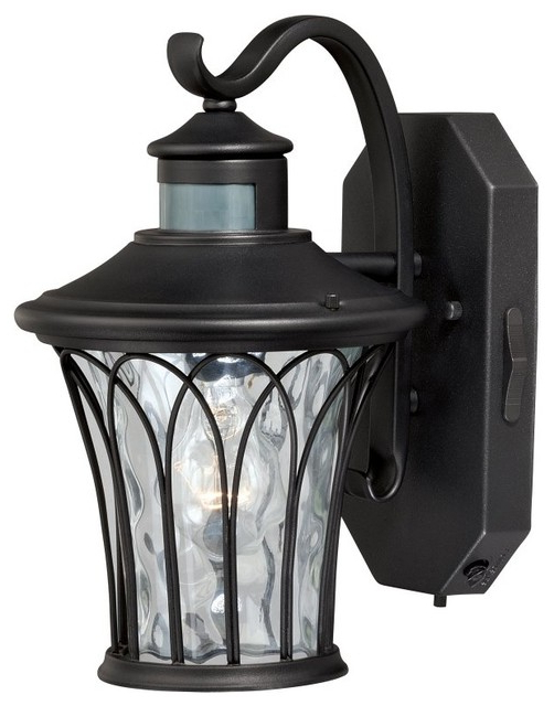 Manteno Black Outdoor Wall Lanterns With Dusk To Dawn Within Popular Abigail Black Motion Sensor Dusk To Dawn Outdoor Wall (View 2 of 15)