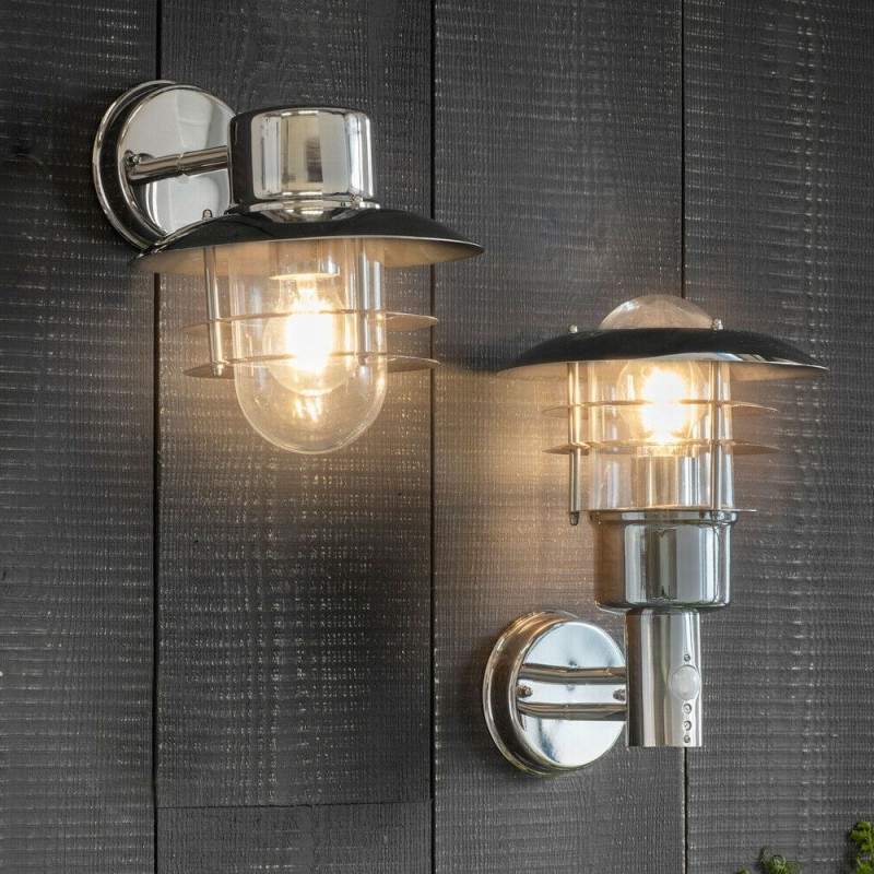 Meunier Glass Outdoor Wall Lanterns With Regard To Popular Ip44 Outdoor Wall Lamp Stainless Steel Caged Glass Pir (View 12 of 15)