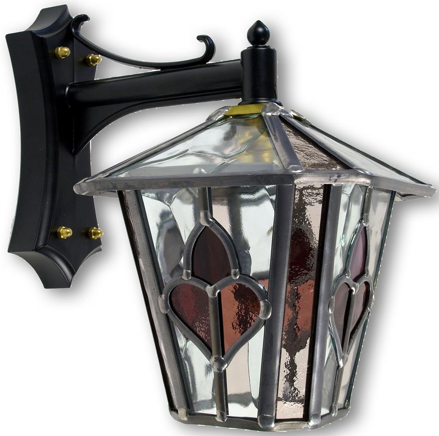 Meunier Glass Outdoor Wall Lanterns Within Most Recently Released Dalton Handmade Dark Pink Leaded Stained Glass Outdoor (View 8 of 15)
