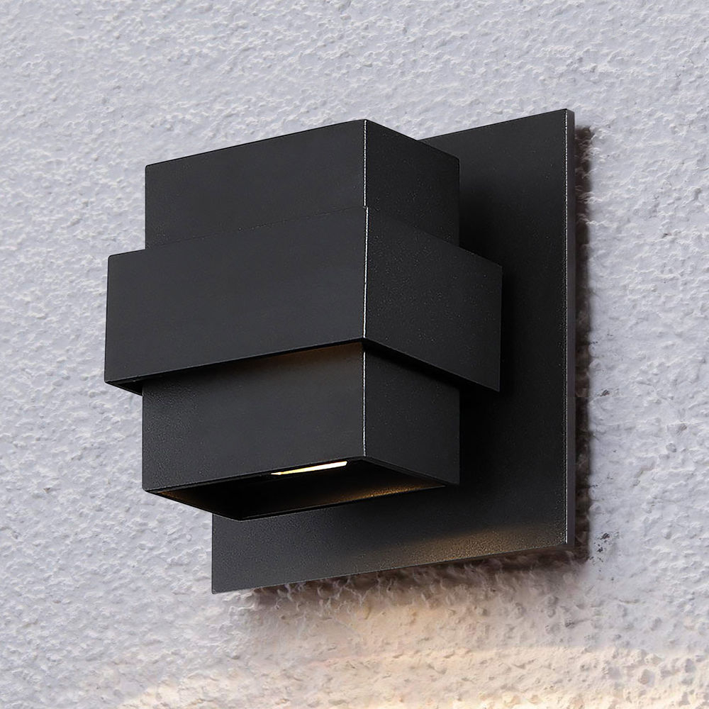 Modern Forms Pandora Black Led Outdoor Wall Light 3000k Within Most Up To Date Brierly Oil Rubbed Bronze/black 12'' H Outdoor Wall Lanterns (View 12 of 15)