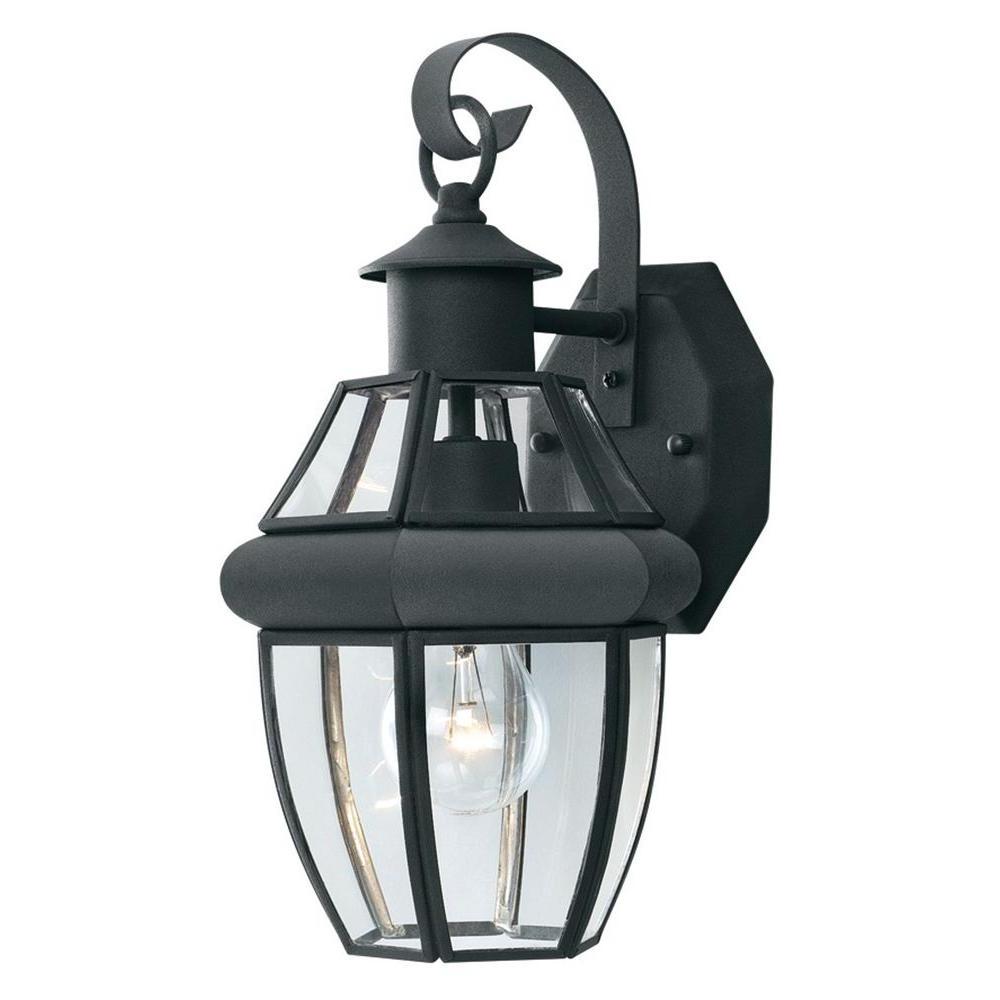 Most Current Armanno Matte Black Wall Lanterns Regarding Thomas Lighting Heritage 1 Light Black Outdoor Wall Mount (View 9 of 15)