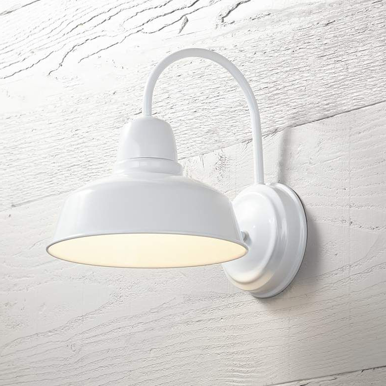 """Most Current Lainey 13'' H Outdoor Barn Lights Inside Urban Barn Collection 13"""" High White Outdoor Wall Light (View 13 of 15)"""